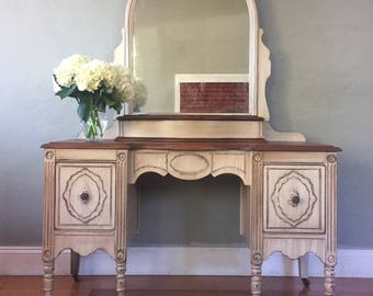 SAMPLE PIECE - Antique White Make-up Vanity with Mirror