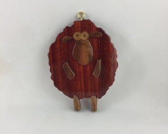 Wooden Red Whimsical Sheep