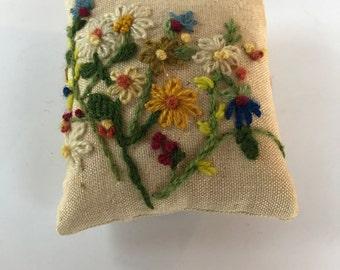 Vintage Crewel Floral Sewing Pincushion/ Tiny Pillow
