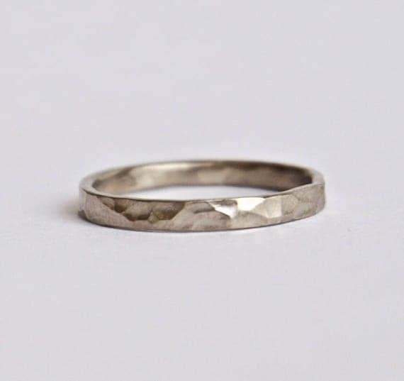 White Gold Hammered Ring - Rustic Wedding Ring - 18 Carat Round Hammered