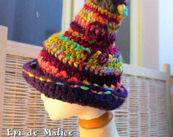 Witch, witchy, fairy, gnome, pixie, Hat, pointed hat. Colorful, multicolored, rainbow, felt, spiral, crocheted, freeform crochet