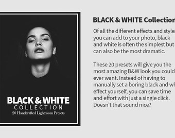 20 Premium Black and White Lightroom Presets - Elegant B&W