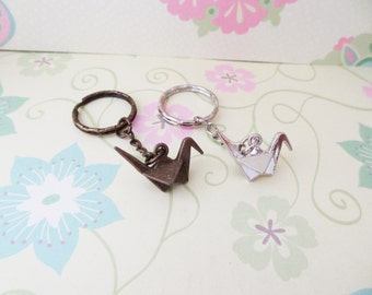 Bronze or Silver Origami Crane/Paper Bird Key Chain - Ready to Ship
