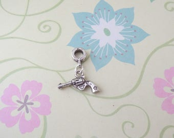 Silver Double Sided Revolver Gun Charm for European Bracelets/Large Hole Bead/Charm - Ready to Ship