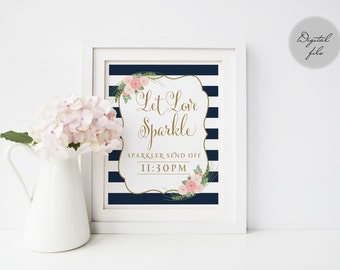 Printable wedding sparkler send off, Wedding sparkler sign, Let love sparkle Navy printable sparkler send off, The Shirley collection