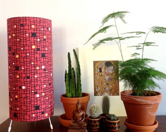 Handmade Vintage Fabric Lamp / Table or Floor Lamp 1950s style / Midcentury Modern / Maze/ Maze / Rust
