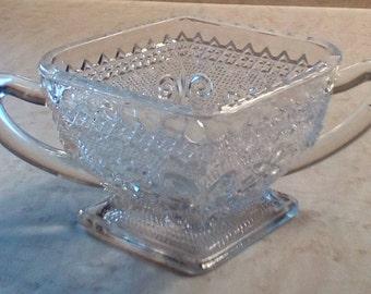 Vintage diamond shape footed sugar bowl, Indiana Glass Tiara Pattern #170 Sandwich or Early American, Pressed glass sugar dish