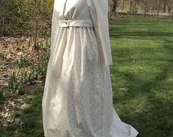 """sz 14(39-40"""" bust 31-32""""waist) Ladies' Regency/ Jane Austin/ Pride & Prejudice/Emma/ 2-pc Gown w/ Spencer Jacket set-READY-TO-SHIP- Emma"""