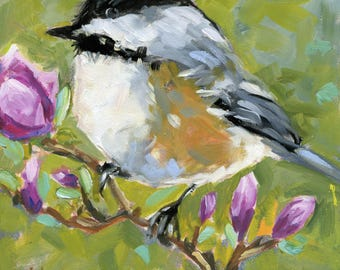 SITTING PRETTY small original bird oil painting by Jean Delaney size 6 x 6 inch on 1/8th inch gesso board