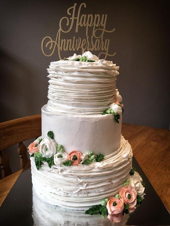 Anniversary Cake Topper, Happy Anniversary Cake,  Gold Cake Topper, Wooden Cake Topper, Rose Gold Cake Topper, Silver Cake Topper