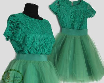 Matching Mom and Daughter Green Lace and Tulle Outfits/Mommy baby outfits/Mother daughter dresses/Mommy and me clothing/Christmas dresses