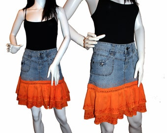 Denim Skirt (7-8) Orange Ruffles , Altered Denim Skirt, Upcycled Jean Skirt, Eco-Friendly Clothing