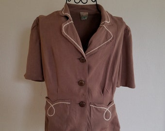 Vintage June Arden Light Brown Top with Embroidered Trim and Large Buttons