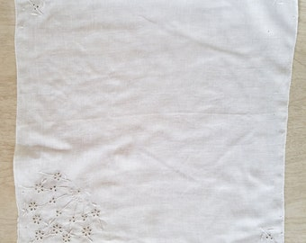 "Vintage White Handkerchief with a ""Fireworks"" of Flowers"