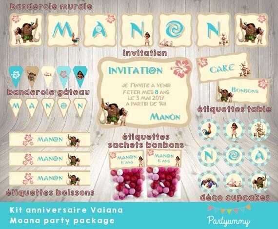 Super Kit anniversaire Vaiana personnalisé à télécharger NZ44