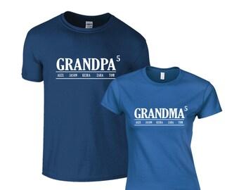 Grandma and Grandpa personalized tshirt set, Pregnancy Announcement, Maternity Shirt, family tshirt, grandmother and grandfather gift set
