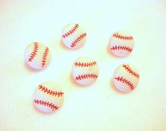 "Mini Baseball Buttons (7/16"") Jesse James Buttons Tiny Sports Equipment Dress It Up Buttons Set of 6 Shank Back - 884 B"