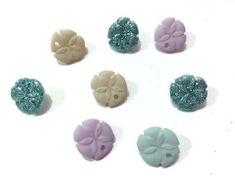 Mini Sand Dollar Buttons Jesse James Buttons Tiny Seashells Dress It Up Buttons Set of 8 Shank Back - 125