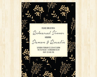 rehearsal dinner invitation black and gold invitation rehearsal invitation wedding rehearsal invite modern floral invitation  207