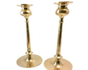 Antique Pair of Arts and Crafts Brass Candlesticks After Robert Jarvie's Beta Model, Vintage Jarvie Style Candle Holders