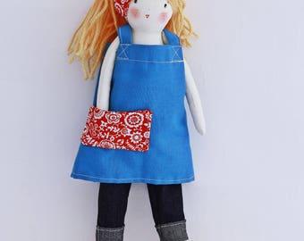 Flora handmade rag doll has an apron Japanese-style pants cowboy and felt boots