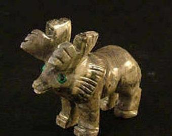 Hand-Carved Soapstone Elk