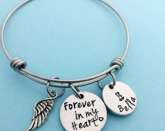 Forever in my heart - pet loss jewelry - Dog memorial bracelet jewelry necklace - Hand stamped jewelry - dog loss bracelet - sympathy