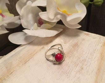 Coral Sterling Silver Stone Ring - Handmade Work