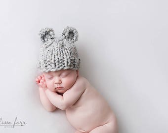Baby Bear Hat, Knit Newborn Hat, Photo Prop Bear, Photography Props Baby Hat Grey Marble- Violet Hat