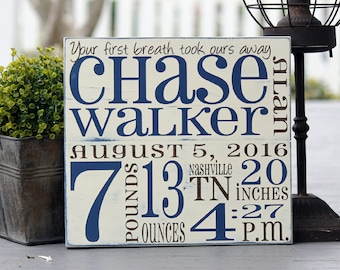 """Custom Birth Announcement wall art, Custom baby gift, Birth Stats sign, Hand painted wood sign, New baby gift, Measures 11"""" x 12"""""""