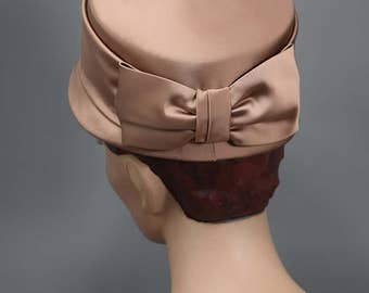 Copper Blush Vintage 50s Satin Hat with Bow Detail