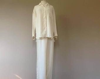 S / Vintage Calvin Klein Chiffon Sleepwear Lingerie Pajama Set / Small / FREE USA Shipping