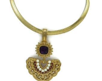 SHAILL JHAVERI for Avon Elizabeth Taylor Collection Pendant 925 Gold Over Sterling Necklace Italian Chain Designer Signed Costume Jewelry