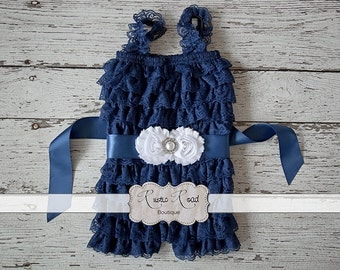 Lace Baby Romper - Navy Romper, Petti Lace Romper, Girls Romper, Birthday Outfit, Toddler Romper, Vintage Flower Girl, Country Girl Outfit