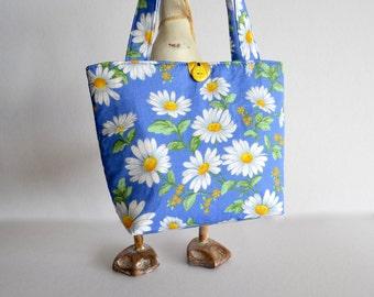 girls bag, daisy tote, blue flower bag, girls handbag, white daisies, Childs tote, gift for girl, toddler bag, kids bag,