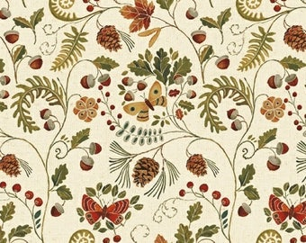Woodland Floral Fabric, Windham Wild Woods 41122 1 Daphne B, Ferns, Acorns, Pinecones, Butterflies, Woodland Flora Quilt Fabric, Cotton