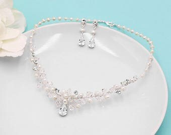 Freshwater Pearl jewelry set, Wedding Set, bridal jewelry set, handmade wedding jewelry, pearl jewelry, Elegance Pearl Bridal Jewelry