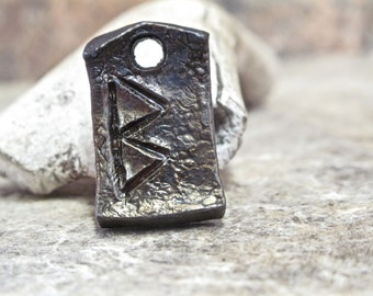 Hand-forged Berkana rune pendant - wrought iron viking jewelry