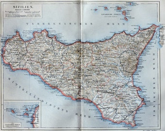 Map of Sicily at the begining of the 20th. Old book plate,1904. Antique  illustration. 113 years lithograph. 9'6 x  11'9 inches.