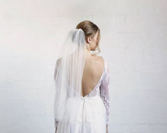 One tier elbow length veil, wedding veil, short veil, raw edge veil, one layer veil, ivory veil, bridal illusion tulle veil