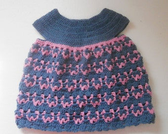 Grey and pink baby dress crochet pattern, new born to 2 years. Baby girl dress pattern // JANE baby dress crochet pattern _ M49