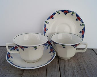 Tea Cup and Saucer (Set of 2) - Adams - Veruschka Pattern