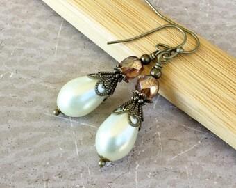 Victorian Earrings, Ivory Pearl Earrings, Pearl Earrings, Topaz Earrings, Czech Glass Beads, Antique Gold Earrings, Bridal Earrings