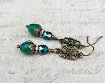 Green Earrings, Victorian Earrings, Long Earrings, Czech Glass Beads, Womens Earrings, Dressy Earrings, Gifts for Her, Antique Gold Earrings