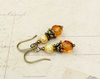 Topaz Earrings, Gold Earrings, White Earrings, Yellow Earrings, Czech Glass Beads,Dainty Earrings, Victorian Earrings, Antique Gold Earrings