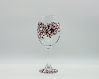 Cherry Blossom Hand Painted Wine Glass Pink Maroon Red Floral Flower