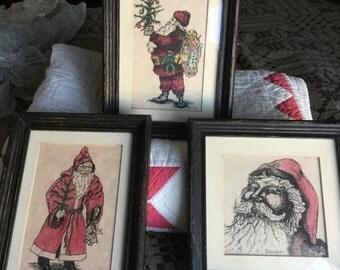 Hand ink painted Santas
