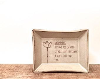 Sweet little Love Plate. Handmade Poetry plate. Love Poem. Original Poppy flower art. Lover gift. Valentine Gift. Anniversary Gift. IN STOCK