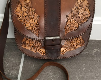 Hand tooled leather bag, hand stitched, leather crossbody bag, hand carved leather bag, boho bag, bohemian purse