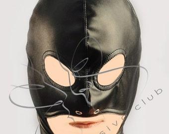 Open chin hood / BDSM master hood / Leather slave hood / Fetish mask / Leather bondage mask / BDSM submissive mask / Open mouth hood /Mature